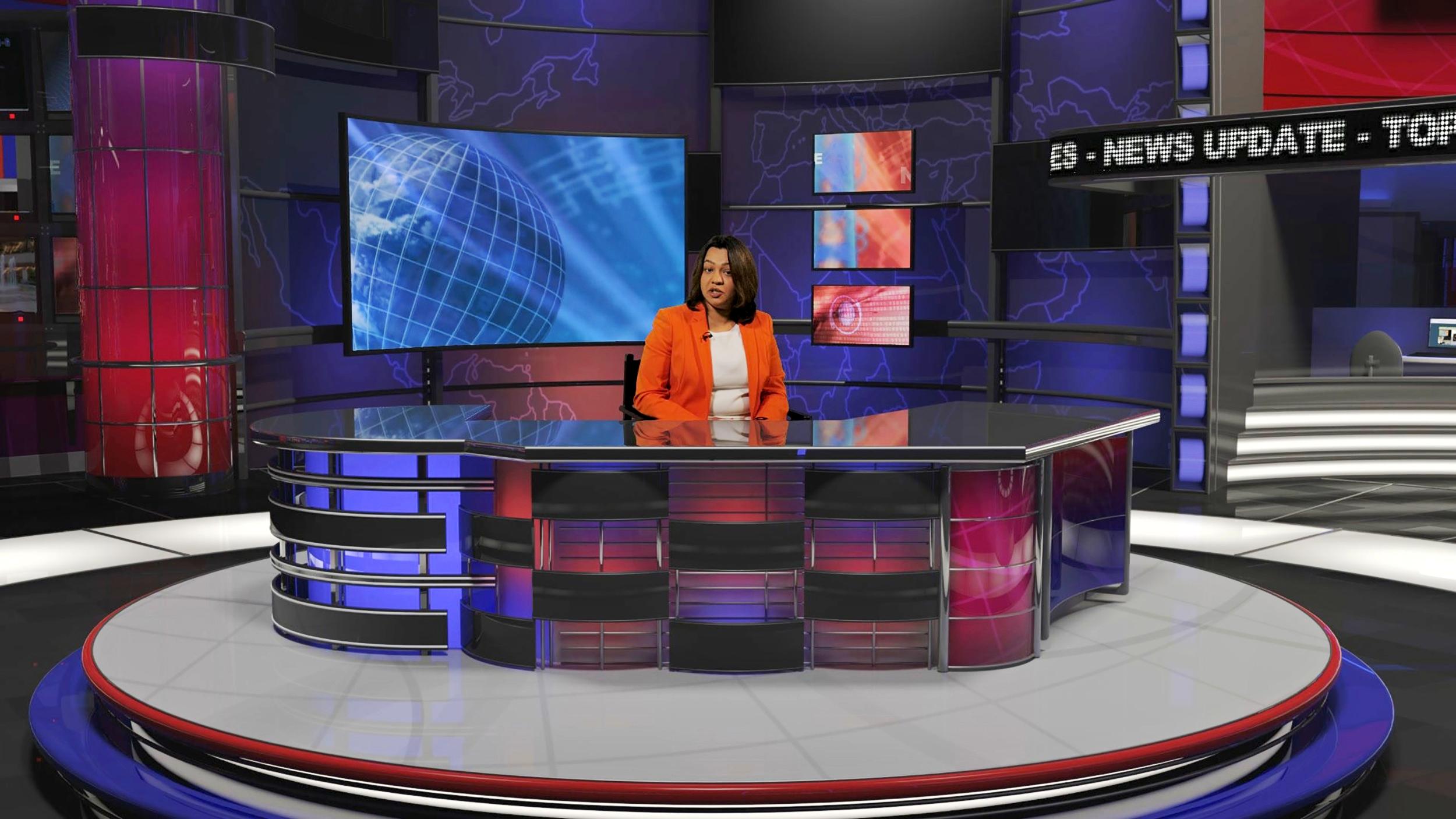 Live news virtual set at our TV studio