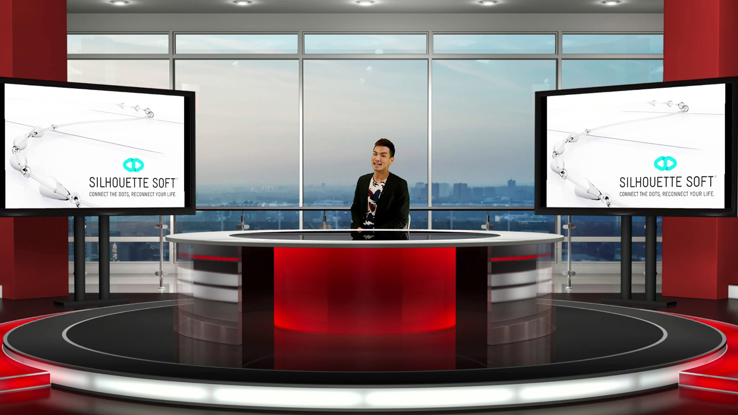 Live screen grab featuring live virtual set news studio at our London training facility