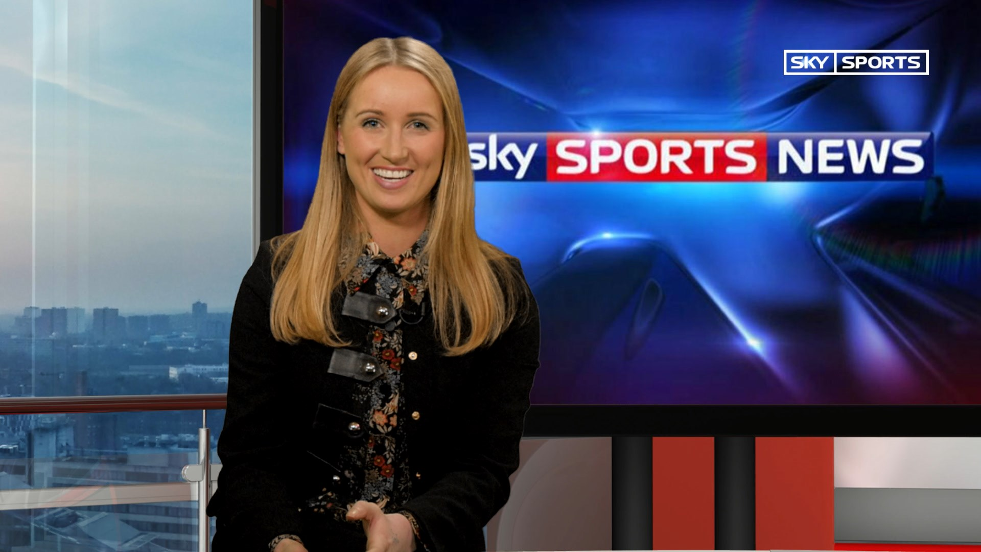 Live screen grab featuring live virtual set in simulated sport news style at Pozitiv's TV studio, London, UK