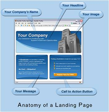A landing page has a clear design