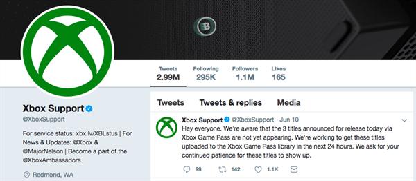 Screenshot of Xbox Twitter homepage social media marketing